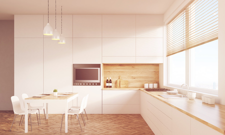 sunlit: Sunlit kitchen interior with working surface, family dining table and counter. Concept of family gathering. 3d rendering. Mock up. Toned image