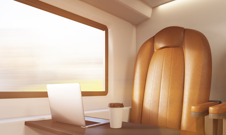 passenger compartment: Brown leather armchair, small table with laptop and coffee in train compartment. Concept of business on road and workaholism. 3d rendering, toned image Stock Photo