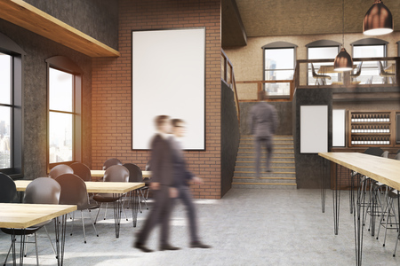 going in: Cafe interior with posters, tables and chairs. Businessmen going in. Concept of eating outside and communication. 3d rendering, mock up Stock Photo
