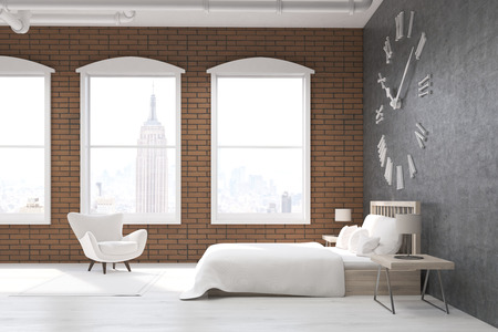 massive: Side view of bedroom in New York with large clock on gray wall, massive bed and white armchair. Concept of cozy room. 3d rendering.