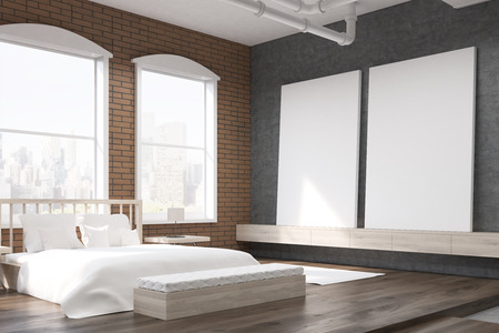 painting on the wall: Side view of bedroom with large clock on gray wall, massive bed and two posters. Concept of cozy room. 3d rendering.