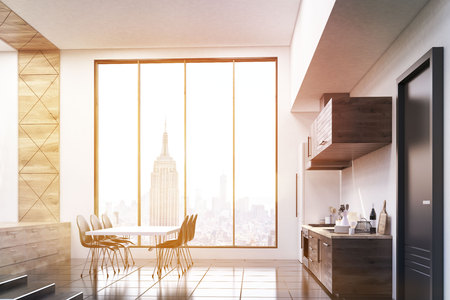 kitchen window: Kitchen corner in studio flat with large window and dining table near the stairs. Concept of comfortable apartment. 3d rendering. Toned image Stock Photo