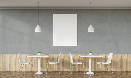 lunchroom: Cafe interior with concrete walls and retro design, tables, chairs and vertical poster on white wall. Concept of family dinner. 3d rendering. Mock up. Stock Photo