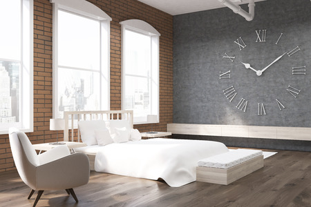 massive: Close up of bedroom in New York with large clock on gray wall, massive bed and an armchair. Concept of cozy home. 3d rendering.
