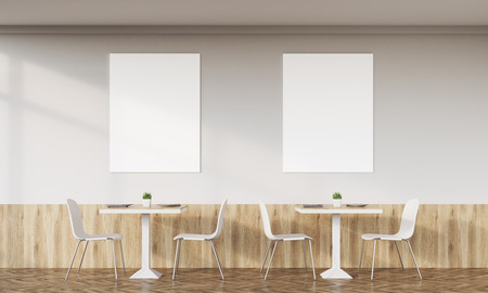 empty space: Family cafe interior with retro design, tables, chairs and two vertical posters on white wall. Concept of family dinner. 3d rendering. Mock up.