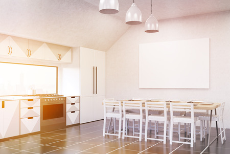fridge lamp: Modern sunlit kitchen interior with white walls, gray and white furniture, fridge, stove and large dining table. Concept of home made food. 3d rendering. Mock up Stock Photo