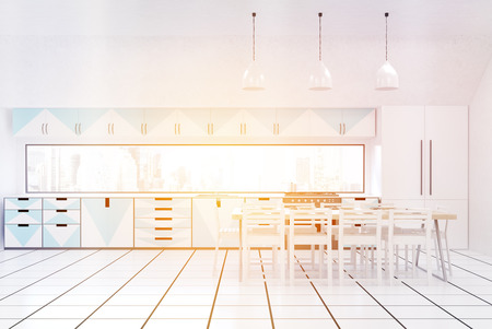 fridge lamp: Front view of modern sunlit kitchen interior with white walls, blue and white furniture, fridge, stove and large dining table. Concept of home made food. 3d rendering. Mock up