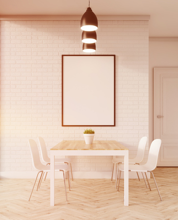 toning: Dining table in apartment. White chairs on wooden floor. Framed picture is hanging on the wall. Concept of home dinner. 3d rendering. Toned image. Mock up