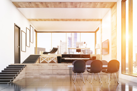 ceo office: CEO office interior in modern building with large table, chairs, massage chair, tv set and pictures on the wall. Concept of business and work. 3d rendering. Toned image Stock Photo