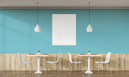 lunchroom: Cafe interior with retro design, tables, chairs and vertical poster on white wall. Concept of diner. 3d rendering. Mock up.