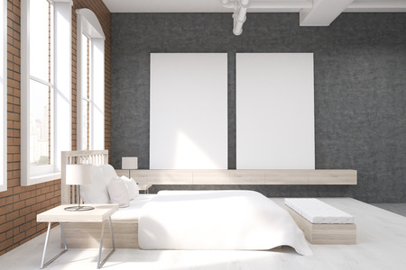 massive: Side view of bedroom with large clock on gray wall, massive bed and two posters. Concept of cozy room. 3d rendering.