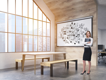 attic window: Woman in office interior with whiteboard with business sketches, table and benches and attic window. New York City. Concept of office recreation area. 3d rendering.