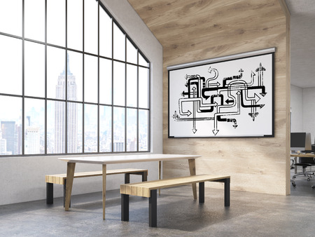 attic window: Office interior with white board with arrow labyrinth, table and benches and attic window. New York City. Concept of office canteen. 3d rendering.