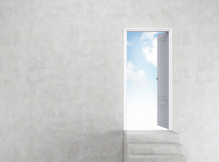 new opportunity: Open door in concrete wall with stairs leading to the cloudy sky. Concept of new opportunity. Mock up