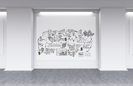 Business sketches on horizontal poster in white office lobby with concrete floor. Concept of motivational pictures. 3d rendering. Mock up Stock Photo