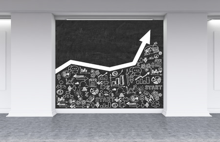 Blackboard with white growing graph and business sketches in office lobby. Concept of company growth. 3d rendering. Mock up