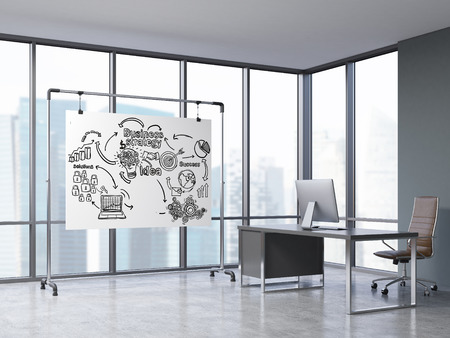 panoramic business: Room with panoramic windows, computer table and whiteboard with business icons. Concept of CEO office. 3d rendering