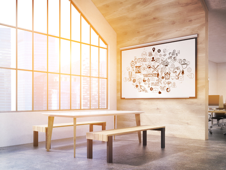attic window: Sunlit office interior with whiteboard with business icons, table and benches and attic window. New York City. Concept of office canteen. 3d rendering. Toned image