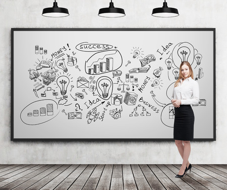 statistician: Smiling blond businesswoman standing near whiteboard with business ideas on it. Concept of creativity in business