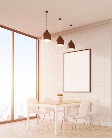 Sunlit dining table with chairs and vertical poster. Panoramic window. 3d rendering. Mock up. Toned image