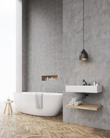 Lieblich ... Des Badezimmers Mit Betonwänden, Einem Stuhl Und Einem Waschbecken.  Konzept Der Entspannung Und Erholung. Attrappe, Lehrmodell, Simulation.  3D Rendering