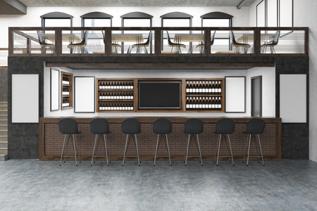 bar scene: Pub with bar table, two floors, posters on white walls and rows of bottles with alcohol on shelves. Concept of partying. Mock up. 3d rendering Stock Photo