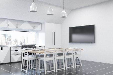 counter top: Modern kitchen interior with white walls, fridge, stove and large dining table. Concept of home made food. 3d rendering. Mock up Stock Photo