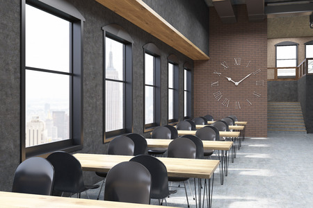 meet up: Coffee shop interior with huge clock on brick wall. Concept of luxury establishment and meet up place. 3d rendering.