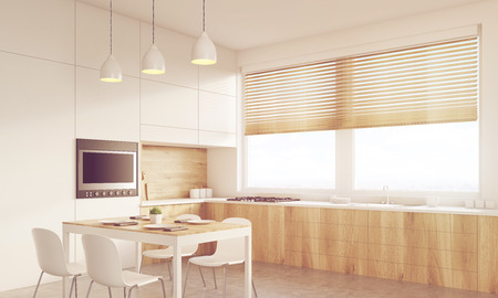 table surface: Corner view of sunlit kitchen interior with working surface, family dining table and counter. Concept of family gathering. 3d rendering. Mock up. Toned image