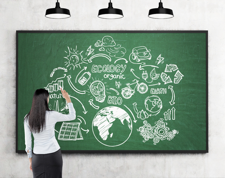 sources: Rear view of woman drawing sketch of renewable energy sources on blackboard. Concept of ecology. Mock up. Stock Photo