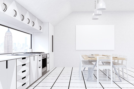 counter top: Modern New York kitchen interior with white walls, fridge, stove and large dining table. Concept of home made food. 3d rendering. Mock up