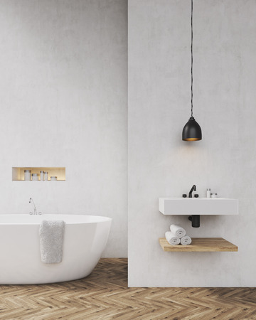 luxury interior: Bathroom with light gray walls, bathtub, sink and towel shelf. Concept of luxury interior. Toned image. Mock up. 3d rendering