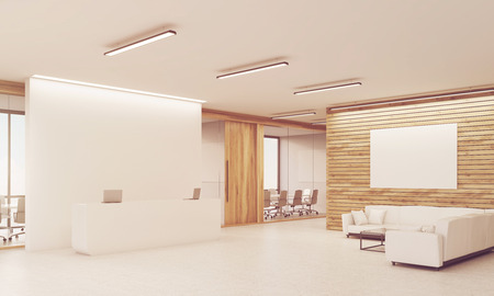 toning: Side view of sunlit reception table with two laptops and conference room with glass walls in the background. Light wood walls. Concept of company office. 3d rendering. Mock up. Toned image