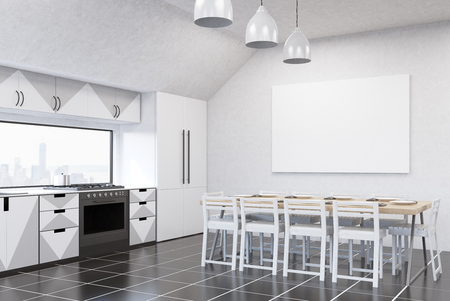 modern kitchen interior: Modern kitchen interior with white walls, gray and white furniture, fridge, stove and large dining table. Concept of home made food. 3d rendering. Mock up Stock Photo