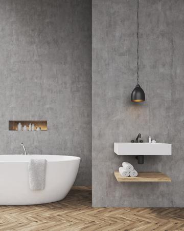 #63799046   Badezimmer Interieur Mit Badewanne, Ein Regal Für Handtücher  Und Waschbecken. Konzept Der Entspannung Nach Einem Harten Tag.
