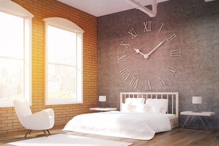 massive: Side view of bedroom with large clock on gray wall, massive bed and white armchair. Concept of cozy room. 3d rendering. Toned image