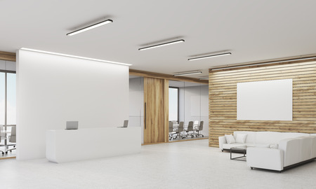 Side view of reception table with two laptops and conference room with glass walls in the background. Light wood walls. Concept of company office. 3d rendering. Mock up. Toned image