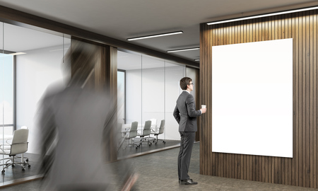 colleague: Businessman is studying a poster. His colleague is going to conference room with glass doors. 3d rendering. Mock up