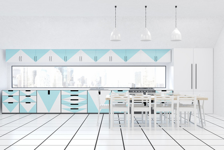 modern kitchen interior: Front view of modern kitchen interior with white walls, blue and white furniture, fridge, stove and large dining table. Concept of home made food. 3d rendering. Mock up Stock Photo