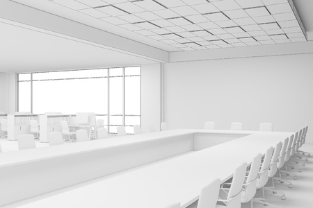 working hard: Side view of office interior with large panoramic window in a skyscraper. Concept of working hard. 3d rendering. Mock up