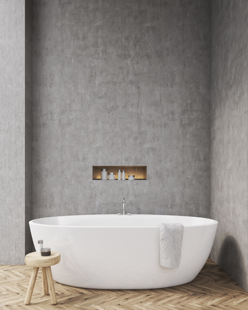 niche: Bathroom with concrete walls, wooden floor, chair and a niche in the wall. Concept of relaxation. Mockup. 3d rendering Stock Photo