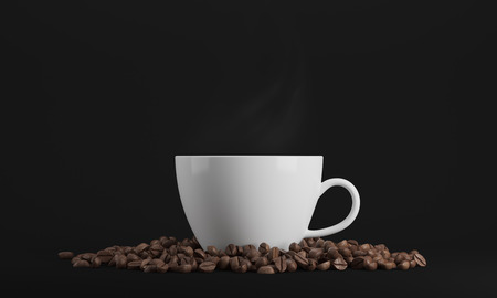 mocca: White cup of coffee surrounded by coffee beans and standing against black background. 3d rendering. Mock up
