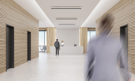 meet up: Rear view of businessman talking to blond secretary behind reception desk while his colleague is rushing to meet him. 3d rendering. Mock up Stock Photo