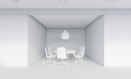 round table: Small conference room interior with large ceiling lamp and round table surrounded by chairs. Concept of negotiation. 3d rendering. Mock up