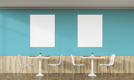 lunchroom: Family cafe interior with dark green walls, retro design, tables, chairs and two vertical posters on white wall. Concept of family dinner. 3d rendering. Mock up.