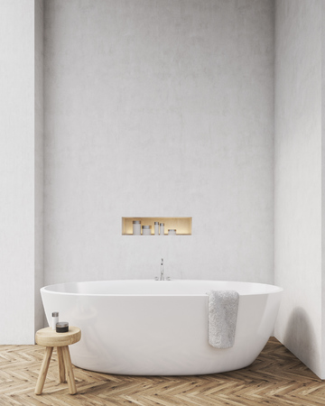 niche: Bathroom with white walls, wooden floor, chair and a niche in the wall. Concept of relaxation. Mockup. 3d rendering Stock Photo