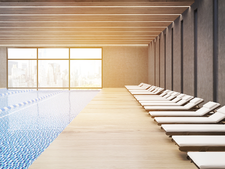 rope ladder: Sunlit public pool interior with chaise longues and wooden floor. City is seen through large windows. 3d rendering.