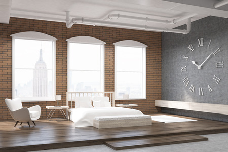 bed room: Bedroom in New York with large clock on gray wall, massive bed and an armchair. Concept of cozy home. 3d rendering.