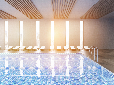 Side view of sunlit public pool with clear water and wooden floor. Large city panorama is seen through window. Concept of being active. 3d rendering