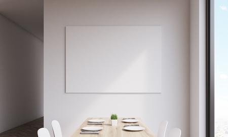 白いキッチンの壁に大きな水平ポスターのクローズ アップ。インテリア アートのコンセプトです。3 d レンダリング。モックアップを作成します。 写真素材